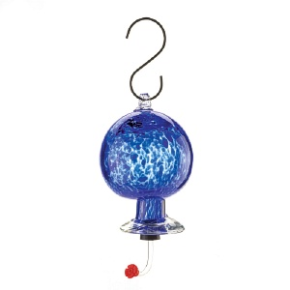 Blue Glass Hummingbird Feeder