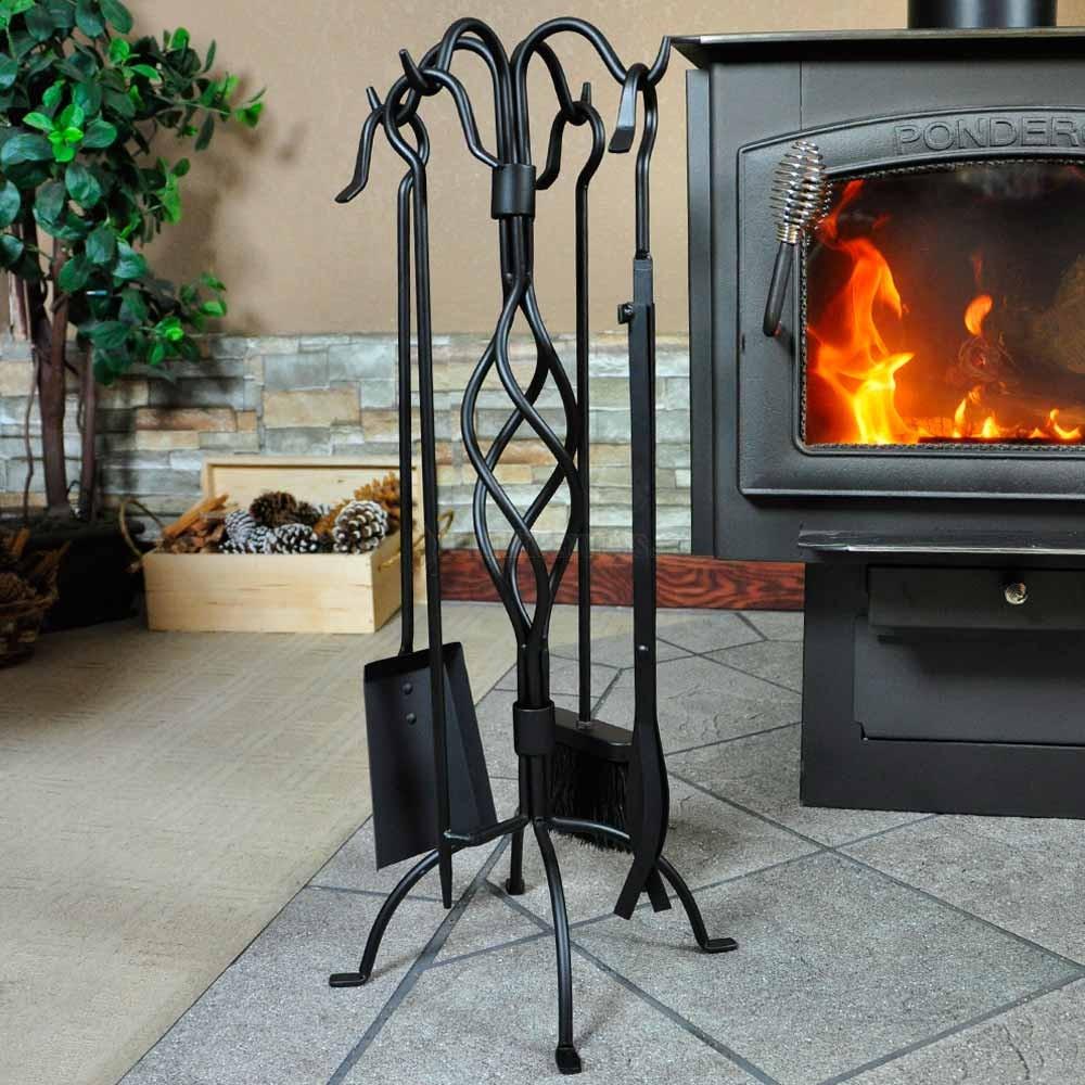5 Piece Black Spiral Design Fireplace Tool Set