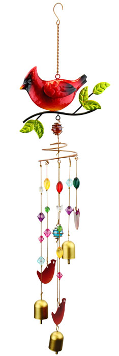 Cardinal Wind Chime w/Jewels