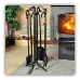 5 Piece Black Wrought Iron Fireplace Tool Set