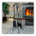 5 Piece Black Spiral Design Fireplace Tool Set